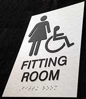 Women's Wheelchair Accessible Fitting Room Sign in Brushed Aluminum