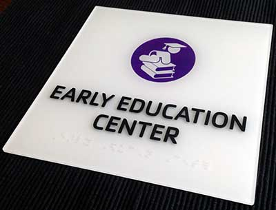 ADA-1231 Custom White ADA Signs - Tactile Text, Grade 2 Braille and Color Symbol