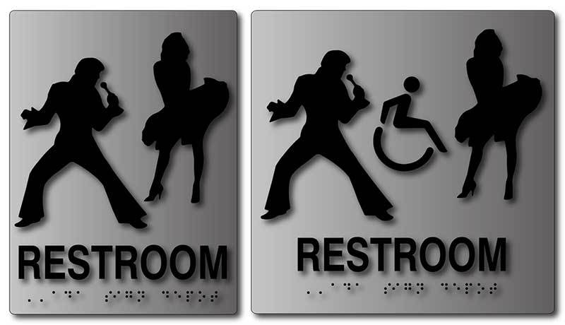 Elvis Presley And Marilyn Monroe Restroom Signs In Brushed Aluminum Inspiration Unisex Bathroom
