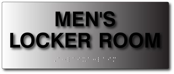 Mens Locker Room Tactile Text and Braille Sign in Brushed Aluminum