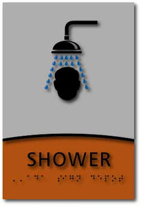 Modern Design ADA Compliant Shower Room Name Signs