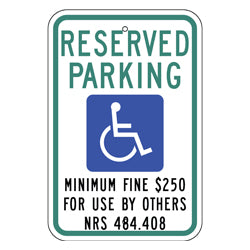 PAR-1039 Nevada State Handicapped Parking Sign
