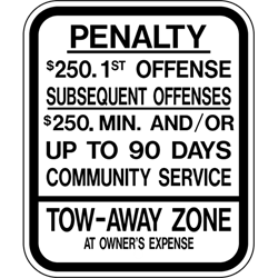 PAR-1040 New Jersey State Handicapped Penalty Supplemental Parking Sign