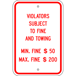 PAR-1044 Pennsylvania Handicapped Parking Supplemental Fines Sign