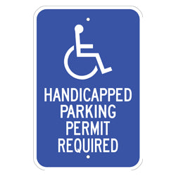 PAR-1110 Wheelchair Symbol Handicap Parking Permit Required Signs