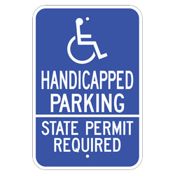 PAR-1111 Wheelchair Symbol Handicap Parking State Permit Required Sign
