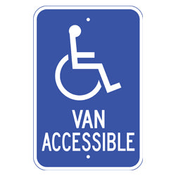 "PAR-1109 Wheelchair Symbol Van Accessible Handicap Parking Signs - 12"" x 18"""