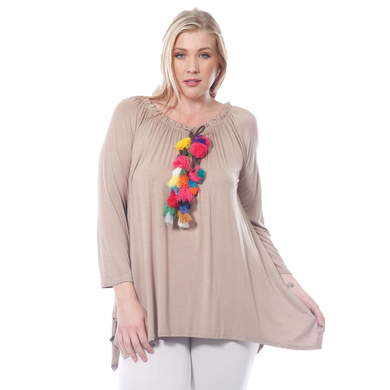 Women's Plush Tassle Loose Fit Long Sleeve Plus Size (XL, 2X, 3XL) Made in USA
