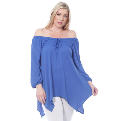 Plus Size Curvy Flowy High-Low Off The Shoulder Top Made In USA