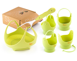 Steamer Basket & Egg Poachers Set  (Spring Edition)