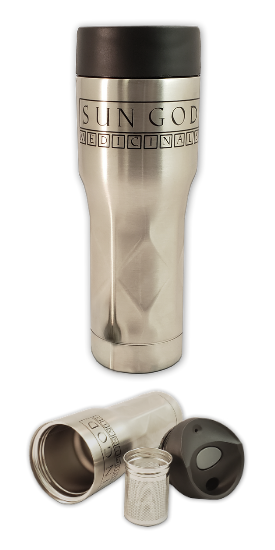 Sun God Medicinals Tea Tumbler and Brewer Mug