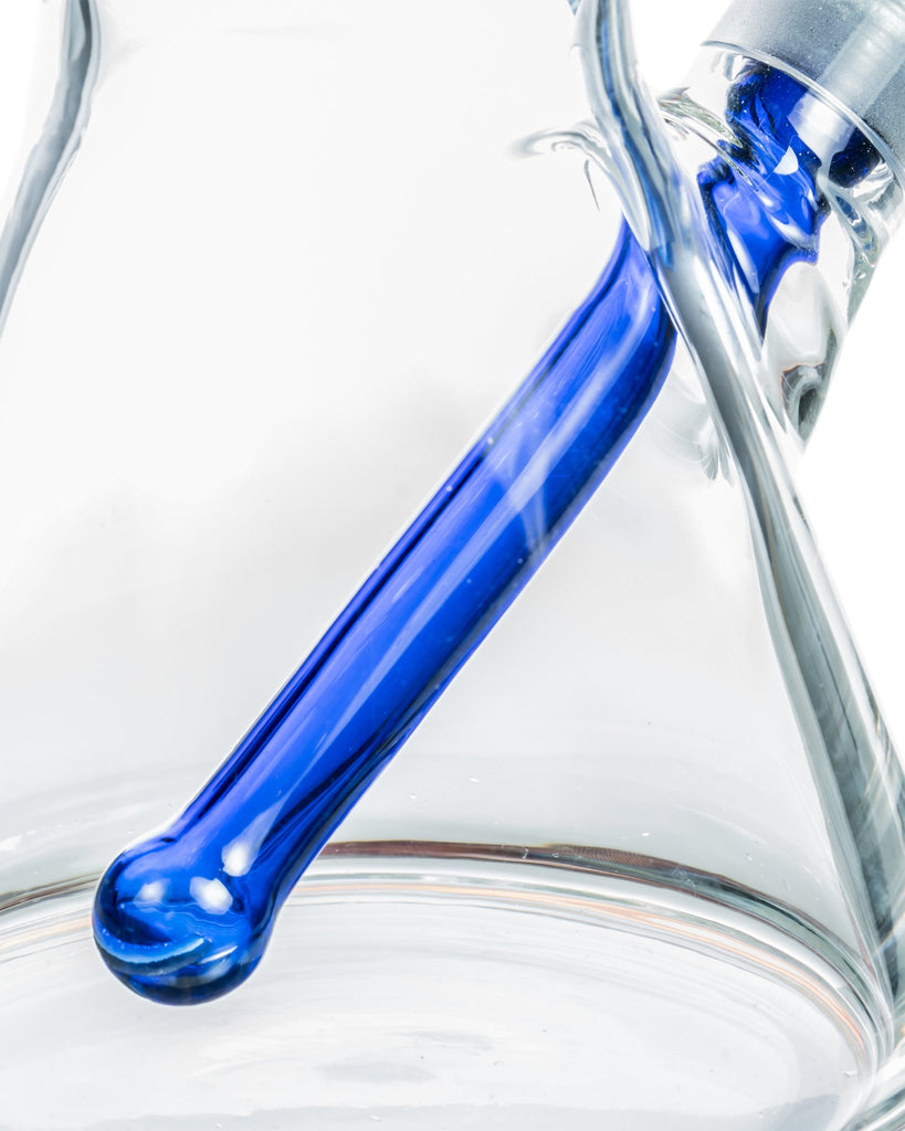 "12"" Thick Glass Beaker Bong with Colored Downstem"