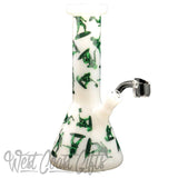 "Red Eye Glass 8.5"" Tall Army Men Concentrate Beaker Tube W/Full Wrap Decal & Quartz Banger"