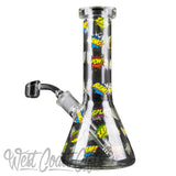"Red Eye Glass 8.5"" Tall Comic Concentrate Beaker Tube W/Full Wrap Decal & Quartz Banger"