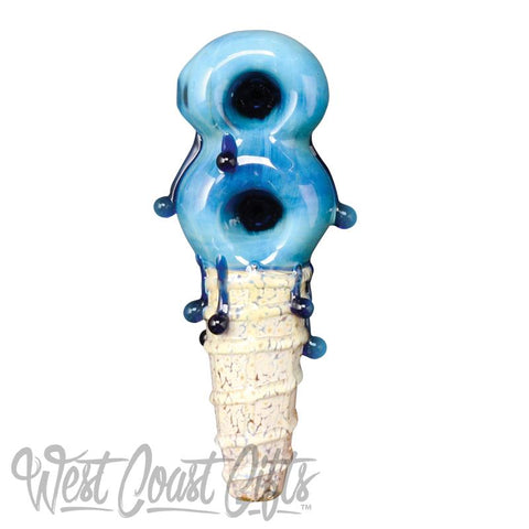 Red Eye Glass Two Scoop Hand Pipe W/2 bowls
