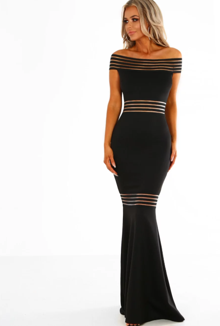 'BADDIE' LUXE MESH OFF SHOULDER MAXI DRESS