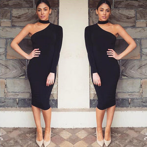'NO REGRETS' ONE SHOULDER CHOKER DRESS