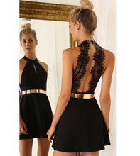 'FACETIME' LUXURY LACE BACKLESS HALTER DRESS
