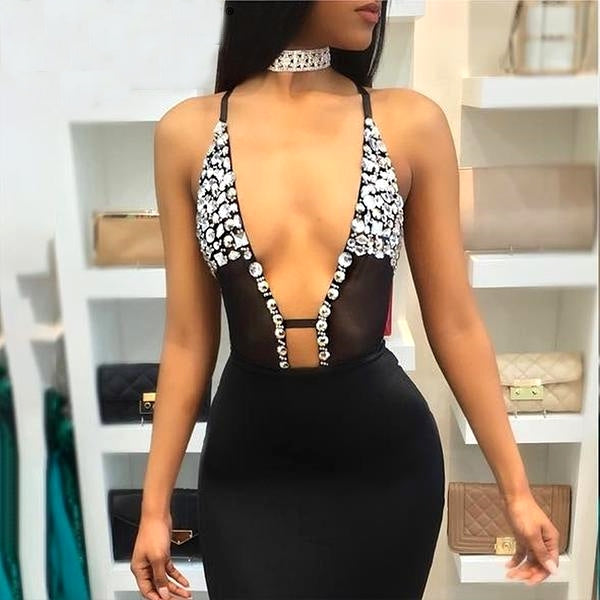 HER GLAM BEDAZZLED DIAMOND BODYSUIT DRESS 2PC SET