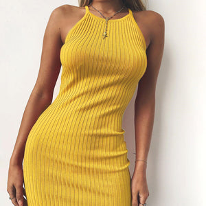 'DREAM' SWEATER STYLE BACKLESS HALTER DRESS