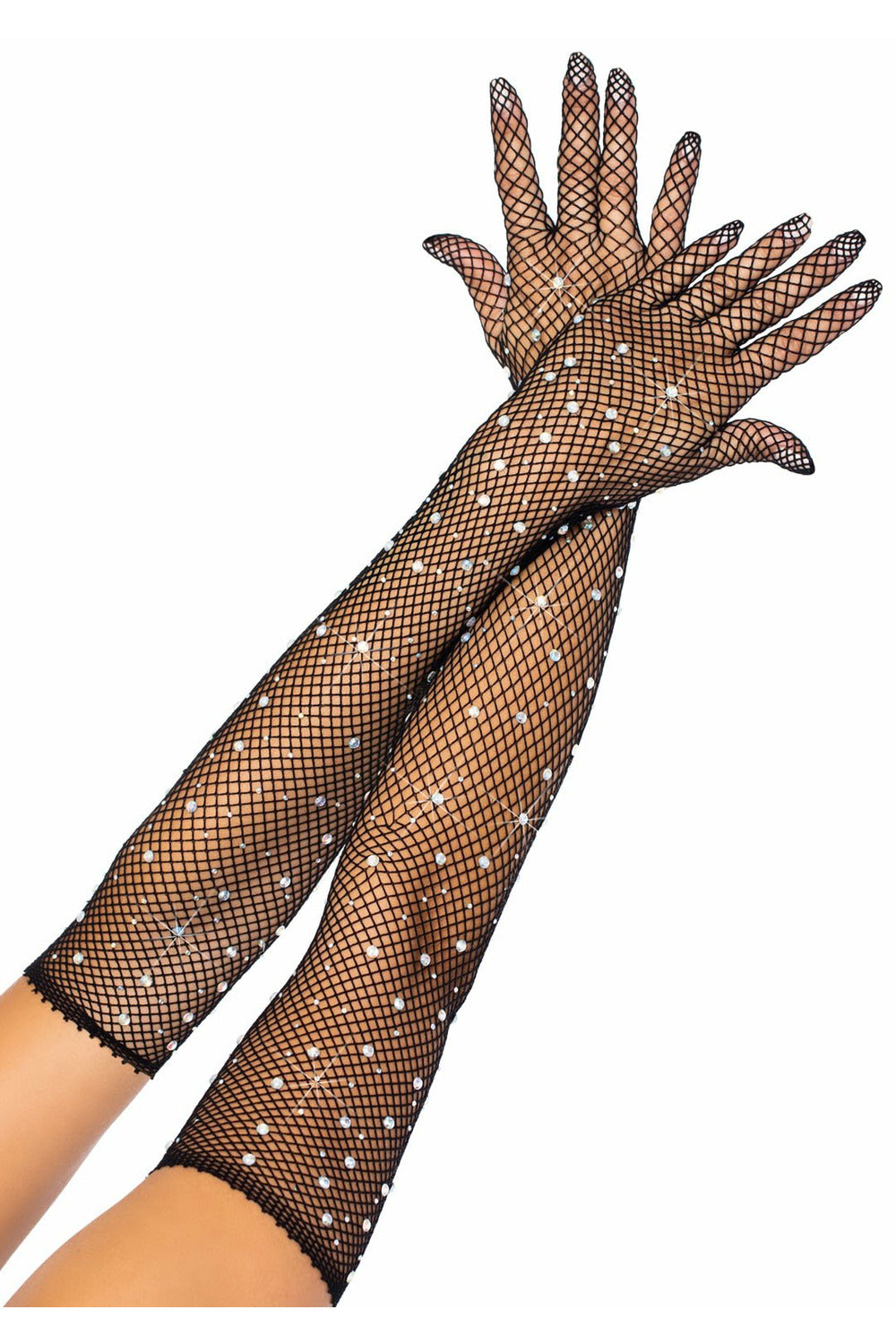 Rhinestone Fishnet Gloves (3 Colors)