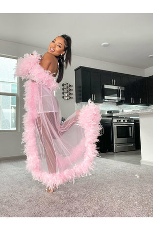 Long Feather Boa Robe (Several Colors)