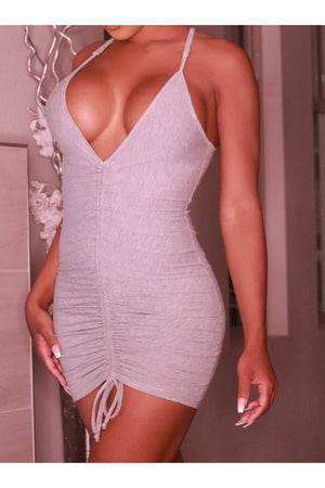 Ruched Gray Mini Dress