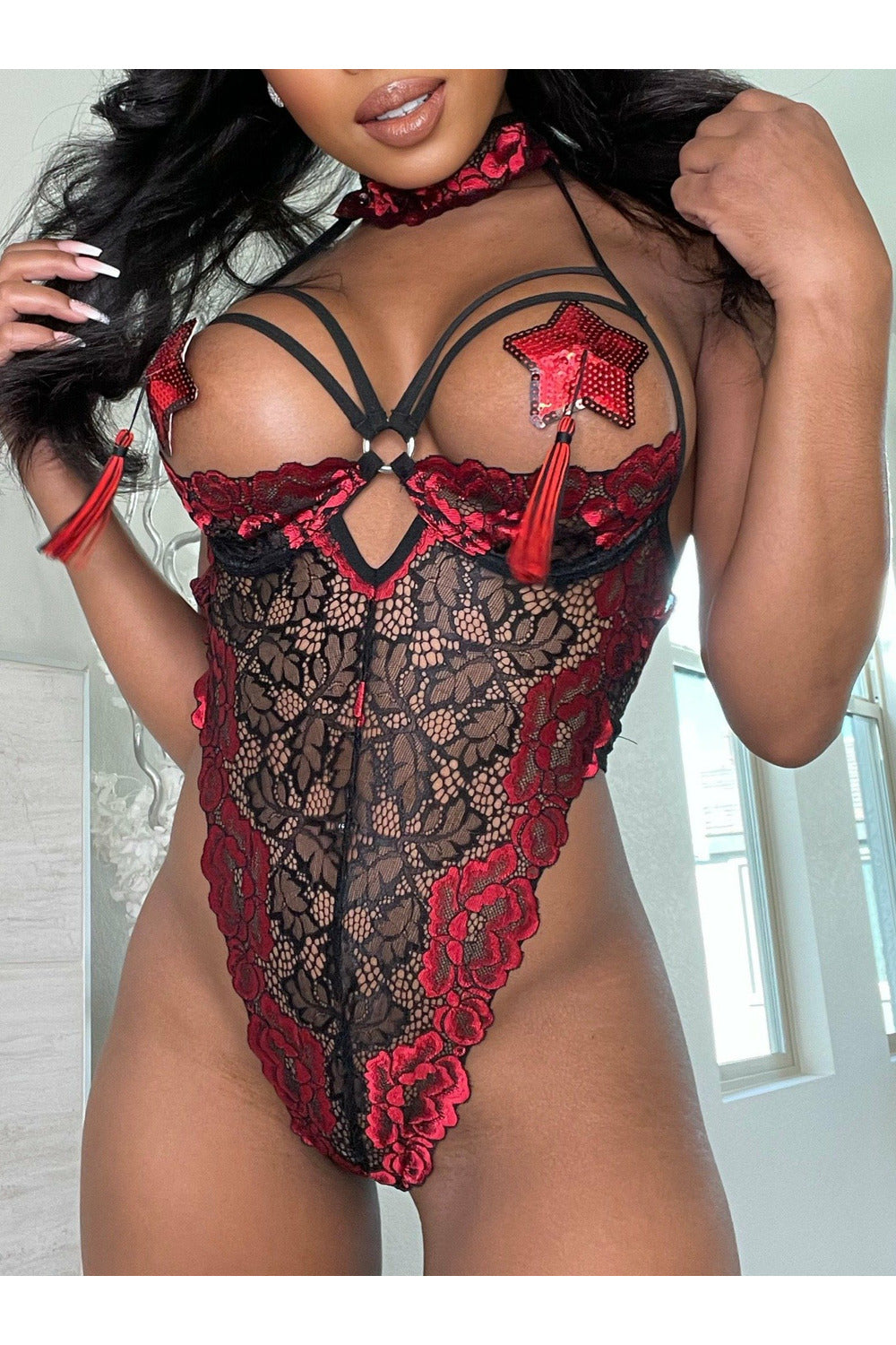 Collared Red Lace Teddy