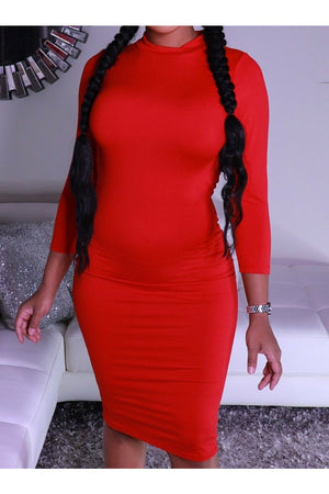 Red Mock Neck Midi Dress