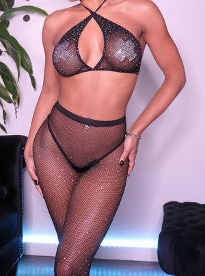 Two Piece Rhinestone Fishnet Set (Several Colors!)