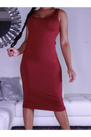 Scoop Neck Tank Midi Dress (2 Colors)