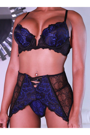 3 Piece Royal & Black Embroidered Set