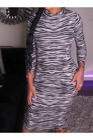 High Neck Tiger Print Midi Dress