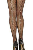 Calf Lined Rhinestone Fishnet Tights