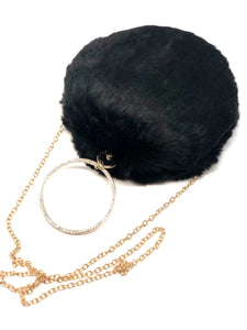 Round Faux Black Panther Fur