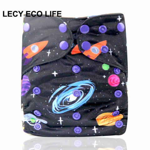 Digital printed baby all in one cloth diaper with two bamboo terry flaps