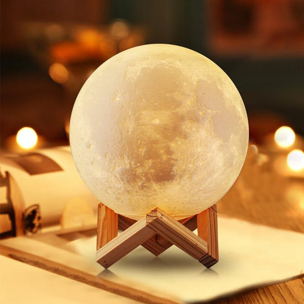 Rechargeable LED Night Lights 3D Print Moon Lamp 2 Colors Change