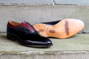 BLACK & RED LEATHER OXFORDS