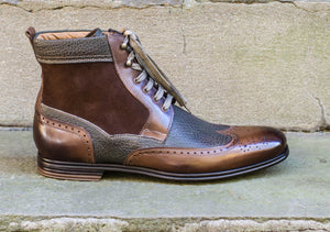 TWO TONE CASUAL DERBY BOOTS