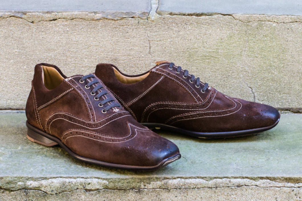 BURNISHED BROWN SUEDE SPORT STYLE SHOES