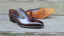 CHOCOLATE BROWN CAP TOE OXFORDS