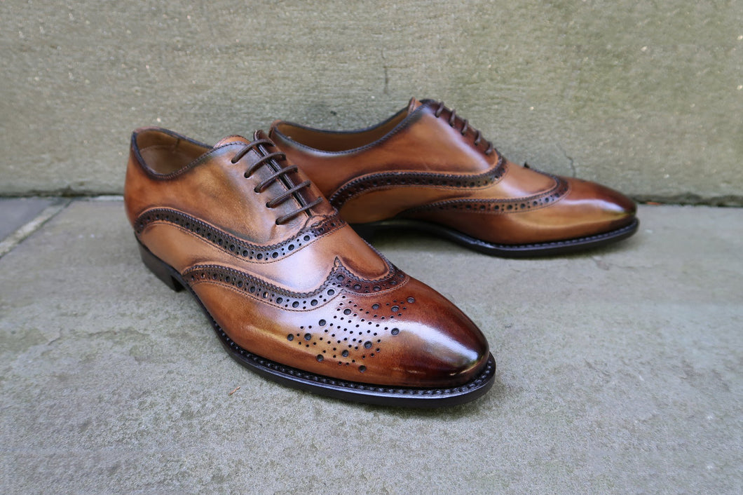 ANTIQUE WHISKEY WINGTIP OXFORDS