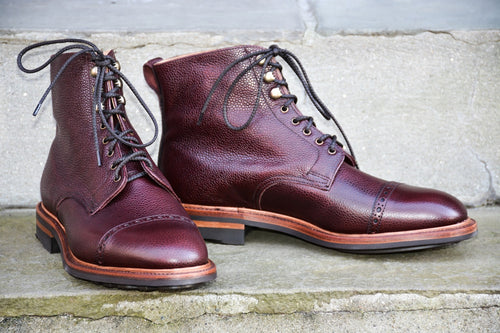 BURGUNDY CAP TOE COUNTRY STYLE BOOTS