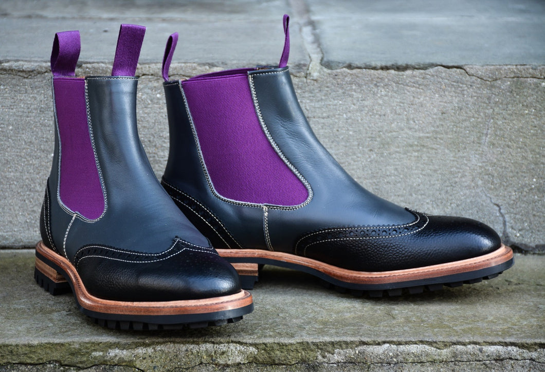 TWO TONE COUNTRY STYLE LEATHER CHELSEA BOOTS