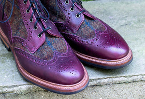 LEATHER/HARRIS TWEED COUNTRY STYLE BOOTS
