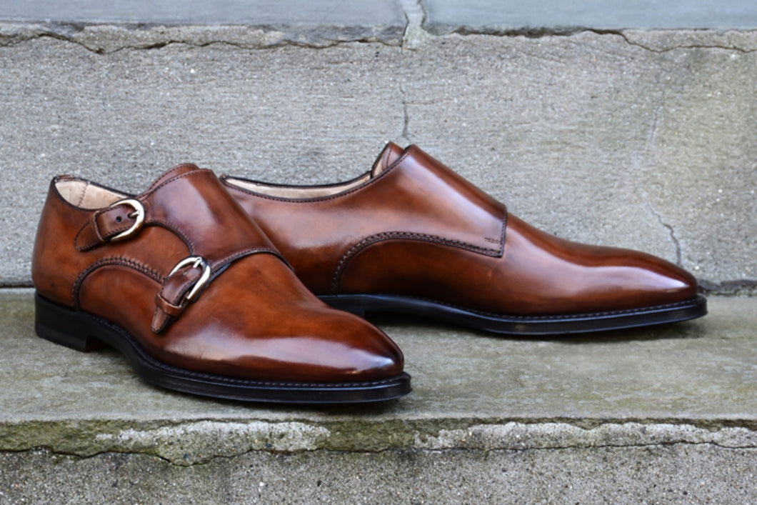 ANTIQUE WHISKEY DOUBLE MONK STRAP SHOES