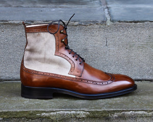 CANVAS PANEL LEATHER BOOTS