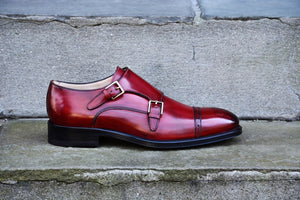 ANTIQUE RED DOUBLE MONK STRAP SHOES