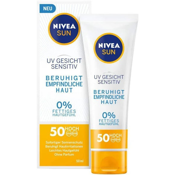 NIVEA SUN, Gesichtssonnencreme Sensitive SPF 50, 50 ml