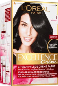 L'Oréal Paris, Excellence Creme Coloration: Black (Color Code: 1), One Application